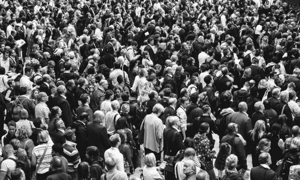 Crowd black and white photo